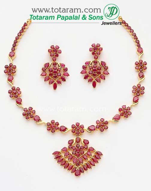 22K Gold Ruby Necklace & Drop Earrings set Totaram Jewelers Buy
