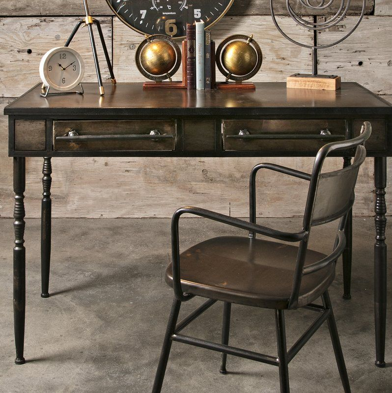 Powhatan Writing Desk Desk And Chair Set Metal Armchair Desk