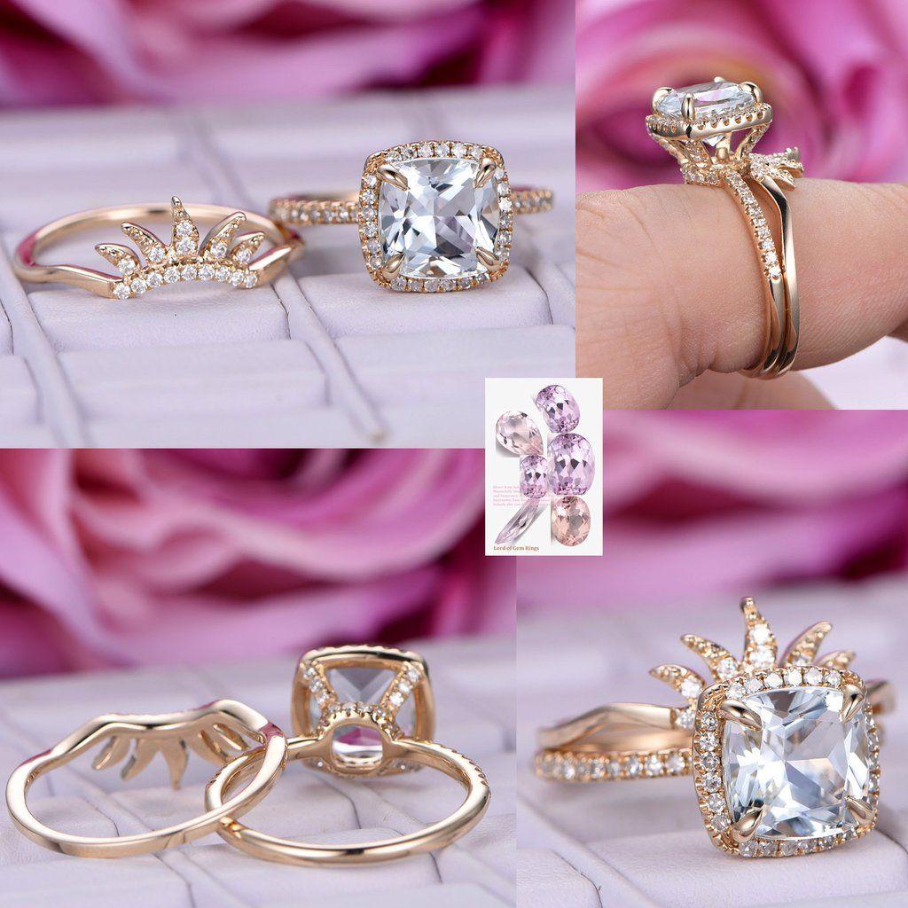 Cushion Aquamarine Engagement Ring Sets Diamond Tiara