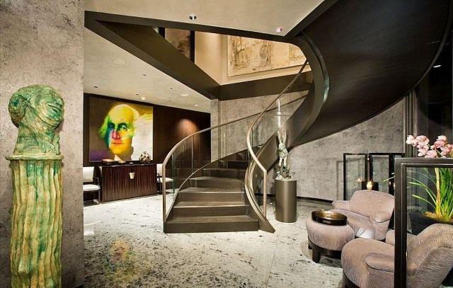 Peinture couloir et décoration de lu0027entrée- 57 idées en couleurs - entree de maison avec escalier