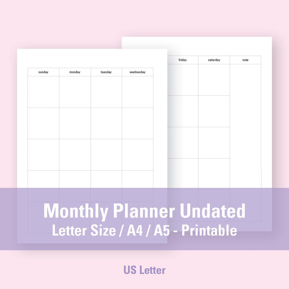 Weekly Calendar Undated : Letter a monthly planner undated printable