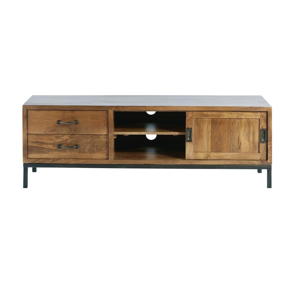 Mobile Tv Ad 1 Anta E 2 Cassetti In Legno Massello Di Mango E Metallo Nero Unique Furniture Tv Cabinets Tv Stand Unit