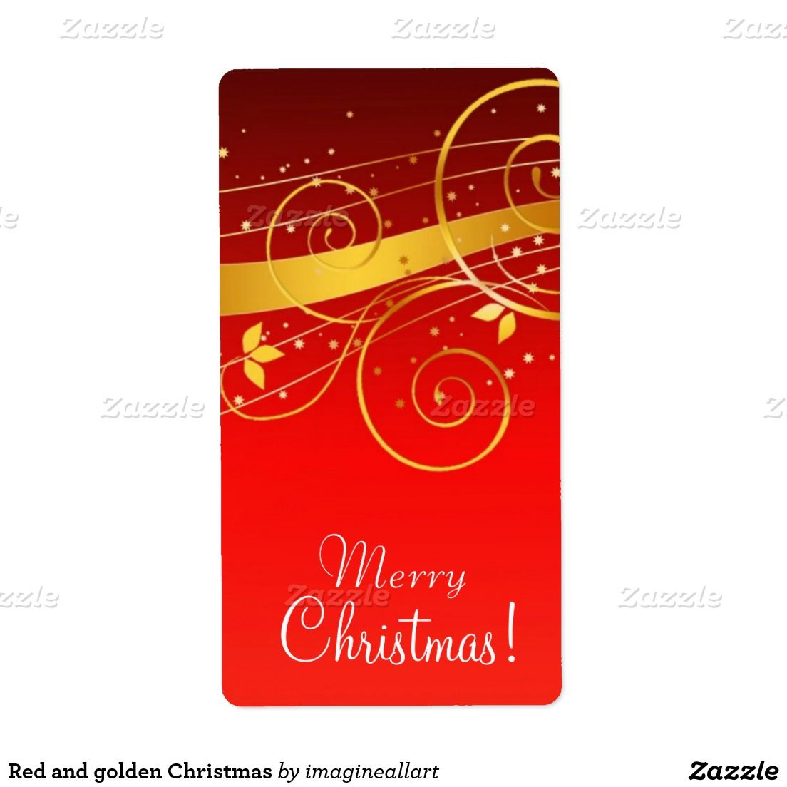 red and golden christmas shipping label everybody s zazzle