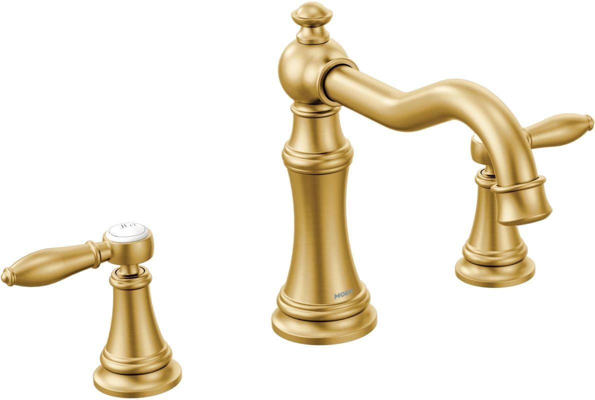 Moen Ts22103bg Weymouth Deck Mounted Roman Tub Build Com Bathroom Faucets Roman Tub Faucets Widespread Bathroom Faucet Moen brass bathroom faucet