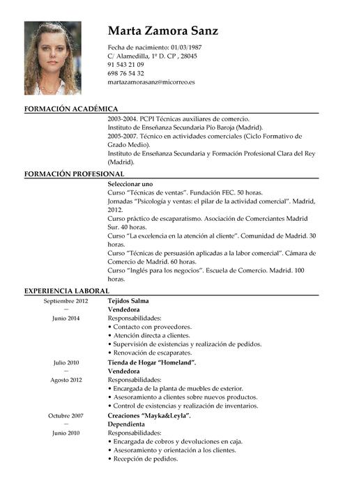 Ejemplo De Currículum Vítae Para Vendedor Modelos De Curriculum Vitae Curriculum Vitae Modelos De Cv