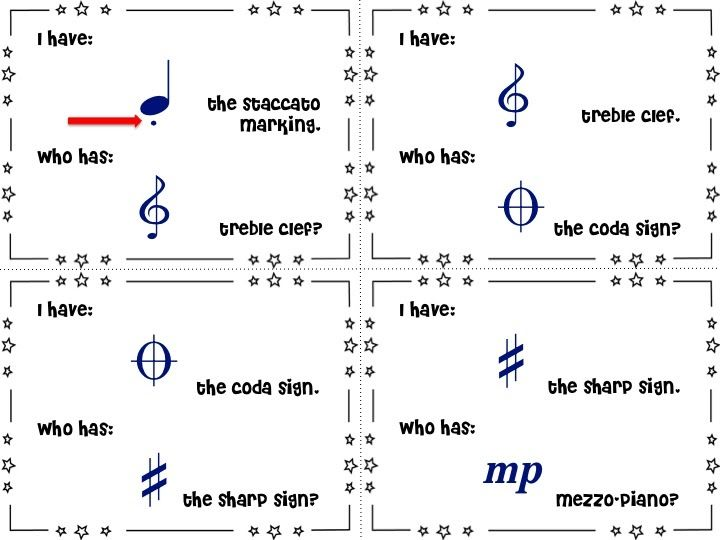 I Have Who Has: Music Symbols. Great for first day of
