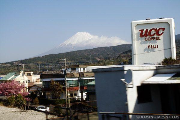 Mount Fuji in spring seen from Shizuoka. Photo was taken out of the Shinkansen bullet train.
