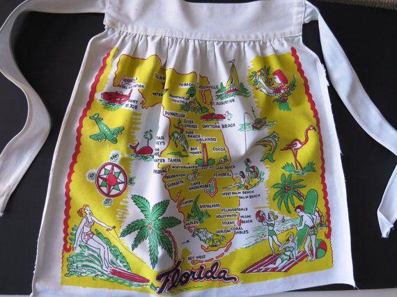 Florida State Half Apron  1940s Florida by shabbyshopgirls on Etsy