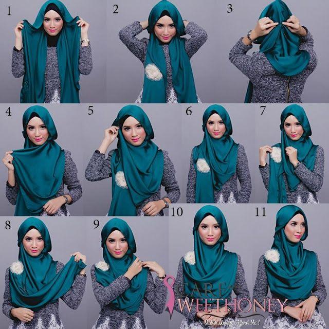 4ff5591361ff Comment porter le foulard Hijab pashmina tutorial simple. La technique  facile à faire pour mettre un voile autour de sa tête sur les cheveux.
