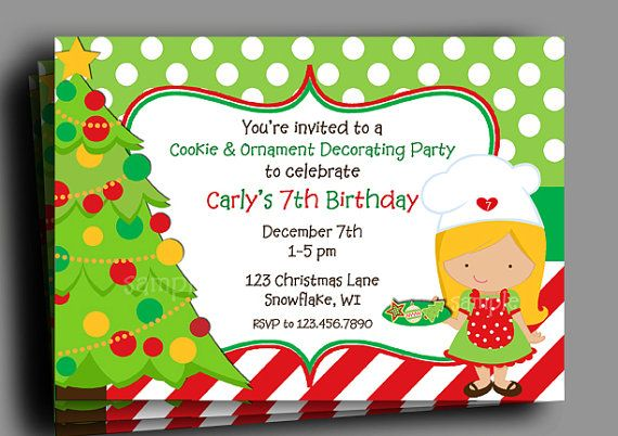 Christmas Invitation Printable Birthday Cookie By Thatpartychick