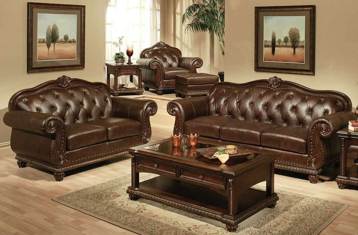 Anondale Cherry Leather Sofa Set Living Rooms The Classy Home