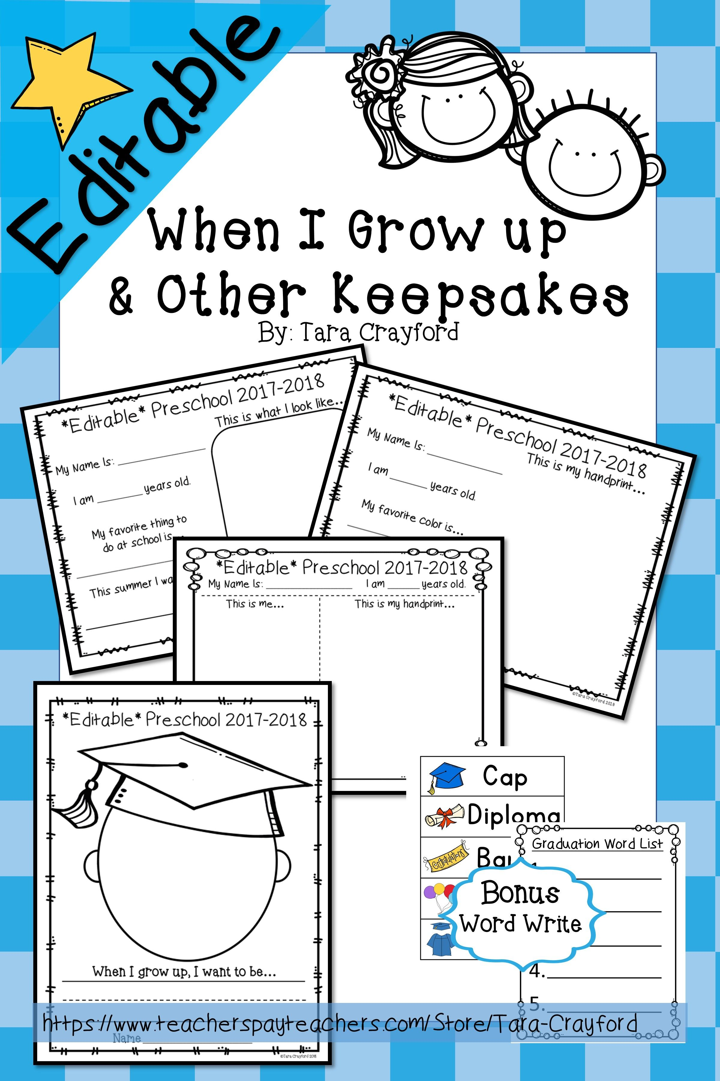 When I Grow Up Amp Other End Of The Year Keepsakes Editable