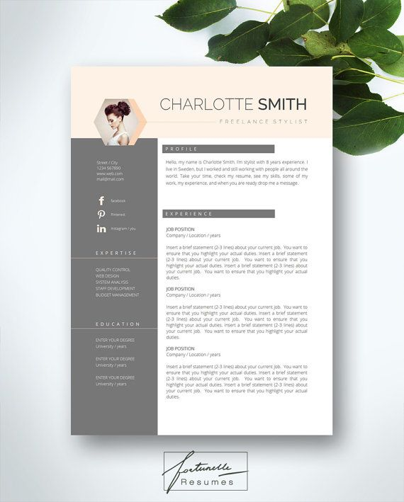 resume template 5 page    cv template   cover letter    instant download for ms word     u0026quot veronique