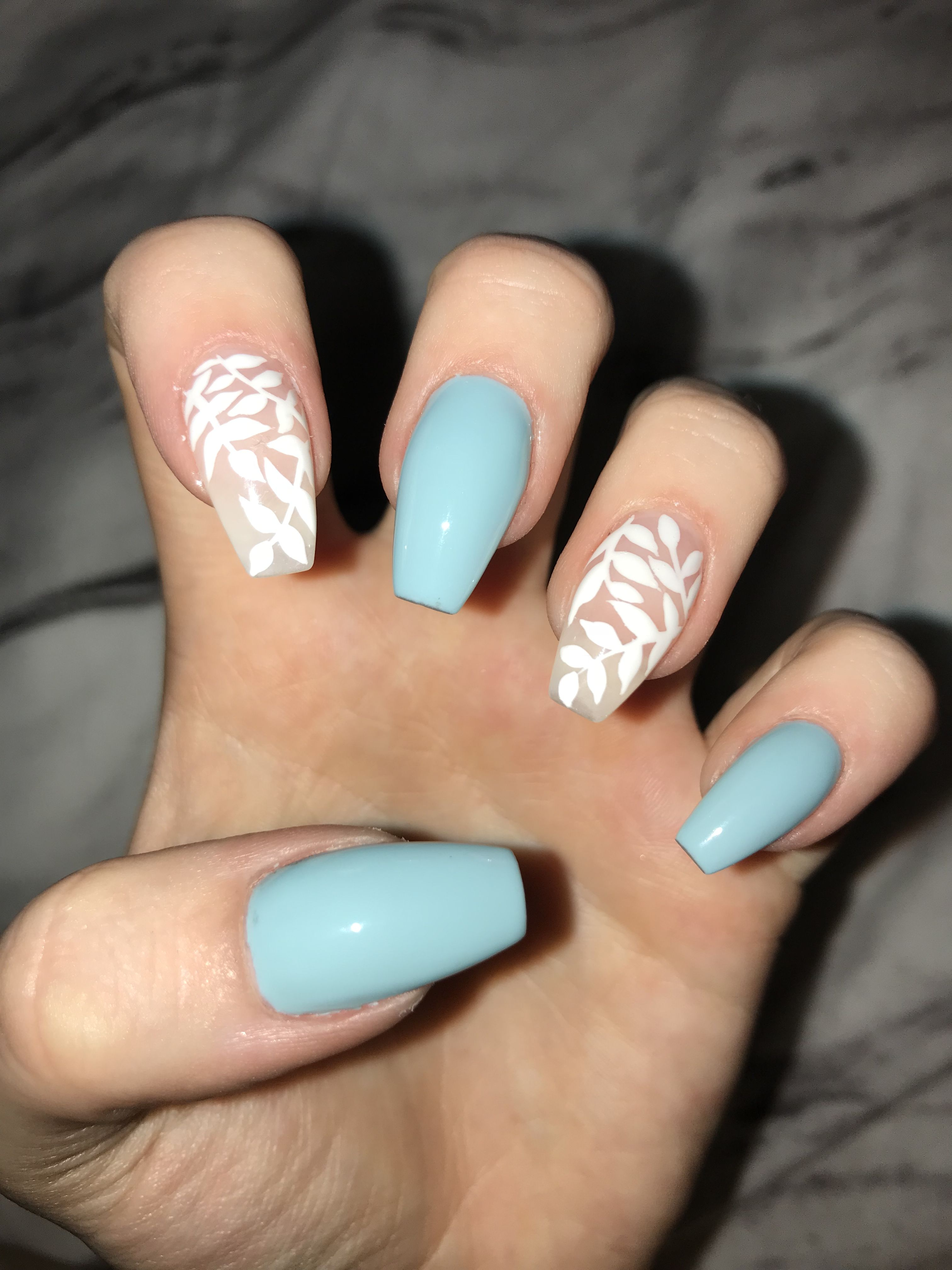 Blue Acrylic Coffin Nails With White Leaf Nail Art Blue Acrylic