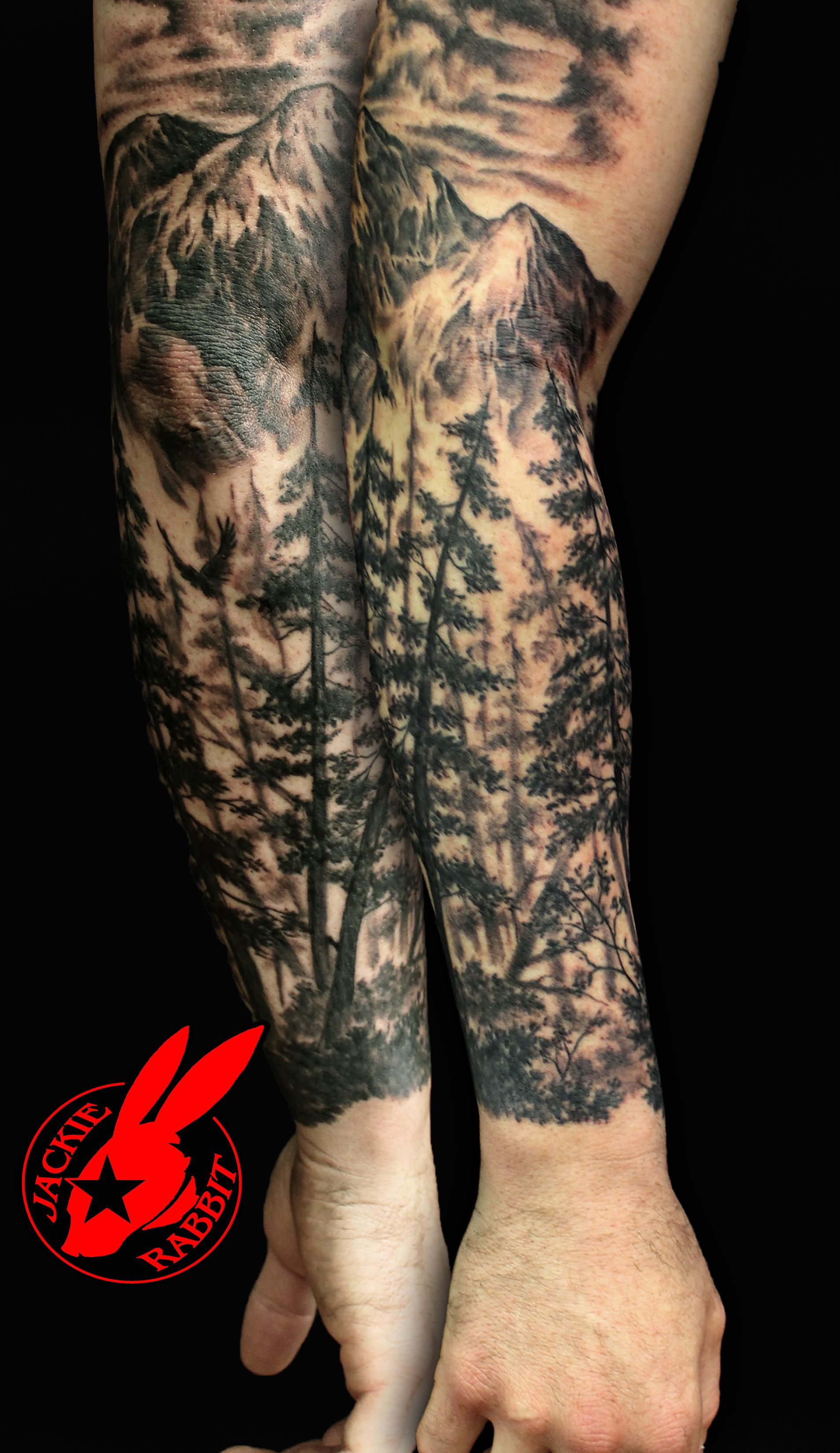 Forest Nature Tree Sleeve Tattoo by Jackie Rabbit Tree