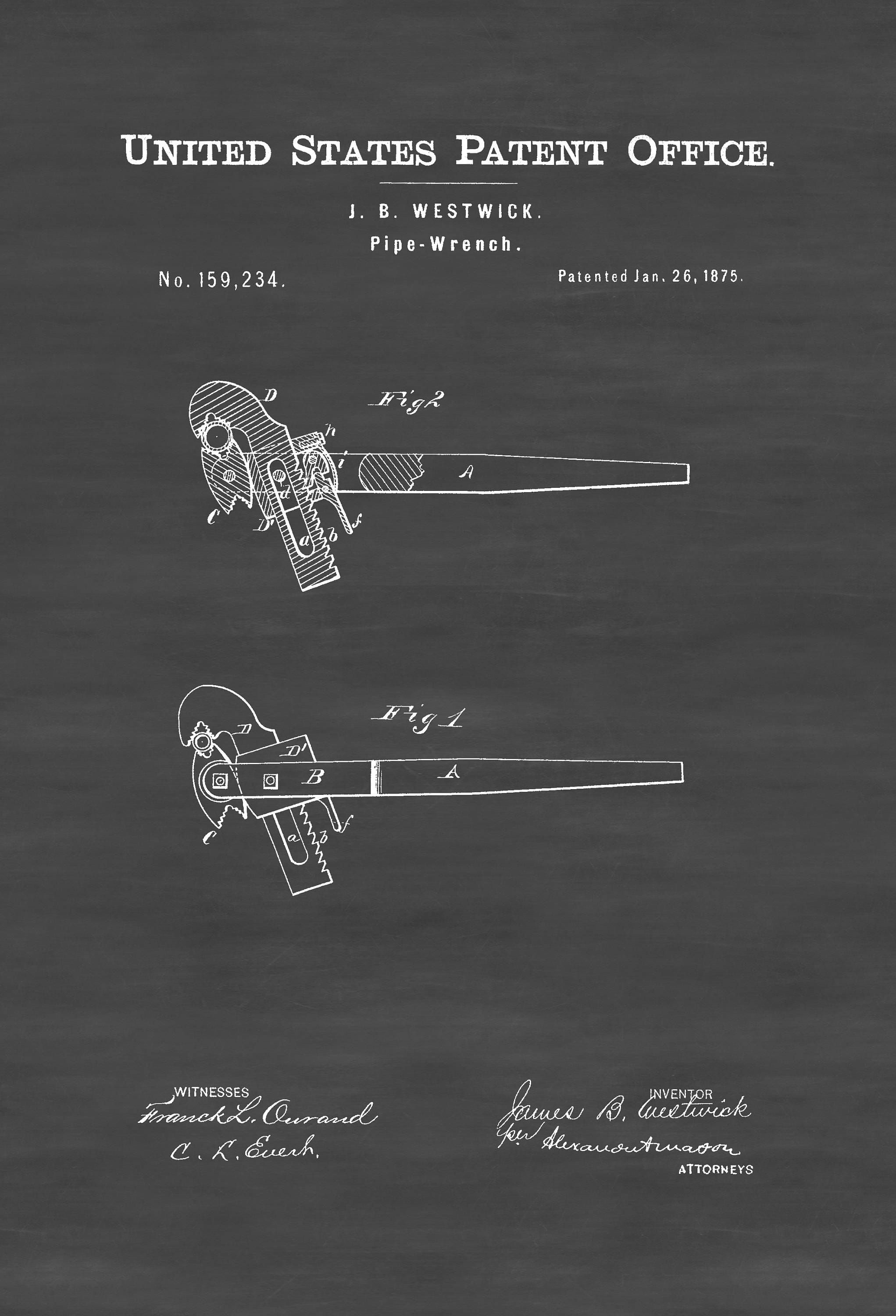 Pipe Wrench Patent 1875 – Patent Print, Vintage Tools, Mechanic Gift ...
