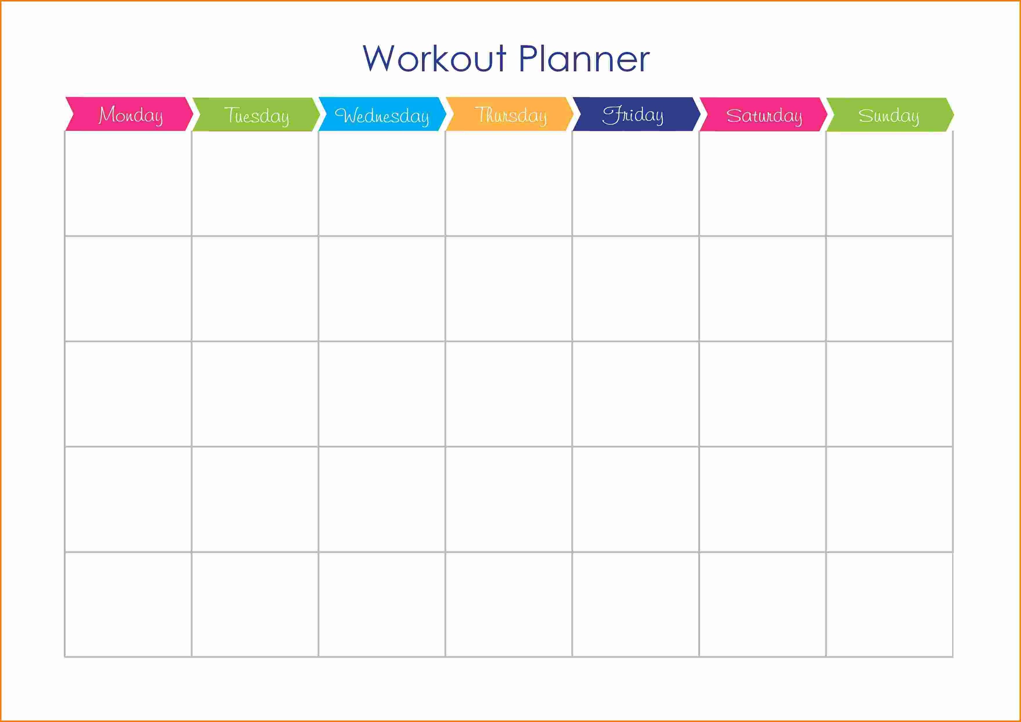 Workout Calendar Template Workout Plan Template Workout