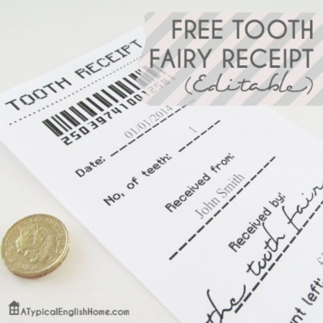 Tooth Fairy Receipt {free printable} http\/\/wwwtipjunkie\/post - make a receipt free