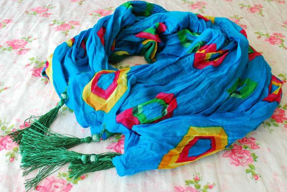 Turquoise Scarf, Colorful Scarf, Oriental Style Scarf, Summer Scarf, Boho Scarf, Boho Clothing, Bohemian Scarf, Oriental Scarf, Boho