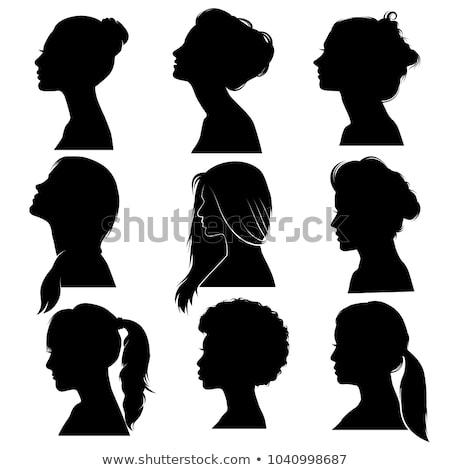 Beautiful Detailed Hair Women Face Profile Silhouette Set Face Profile Woman Face Silhouette Face Profile Drawing