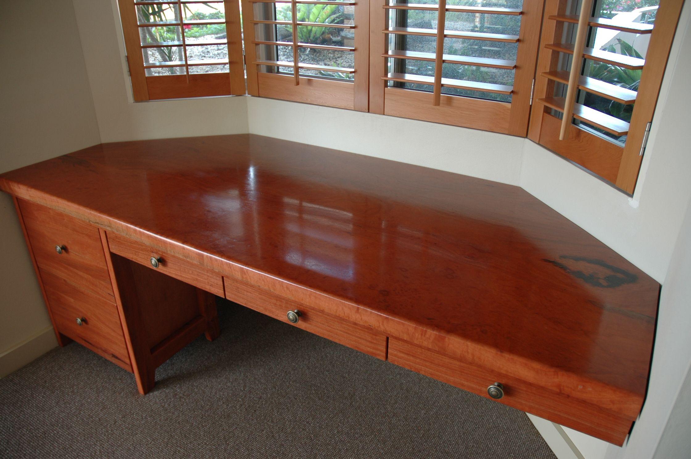 Custom red gum wood bay window desk by Wild Wood Designs ...