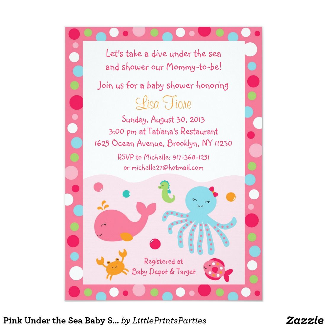 Pink under the sea baby shower card shower invitations and babies