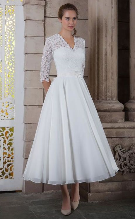 White Rose Bridal Tea Length Wedding Dress With Sleeves 2016