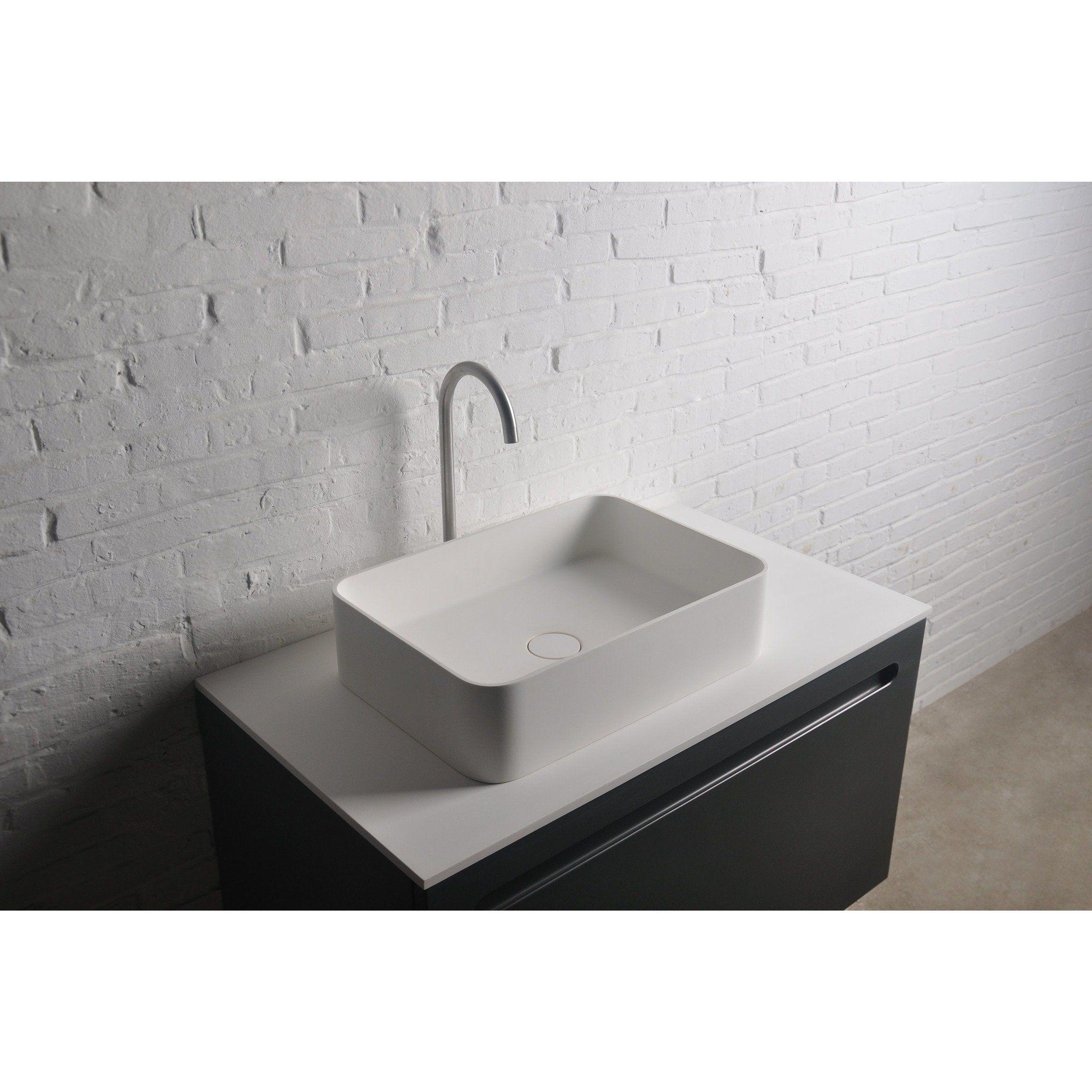 Ideavit Thin Rectangular Solid Surface Vessel Sink Bowl