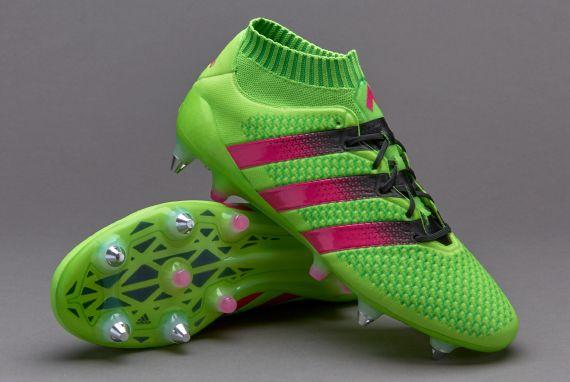 new arrival e49ba 876f2 Football Boots Adidas Ace 16+ Primeknit SG with Solar Green ...
