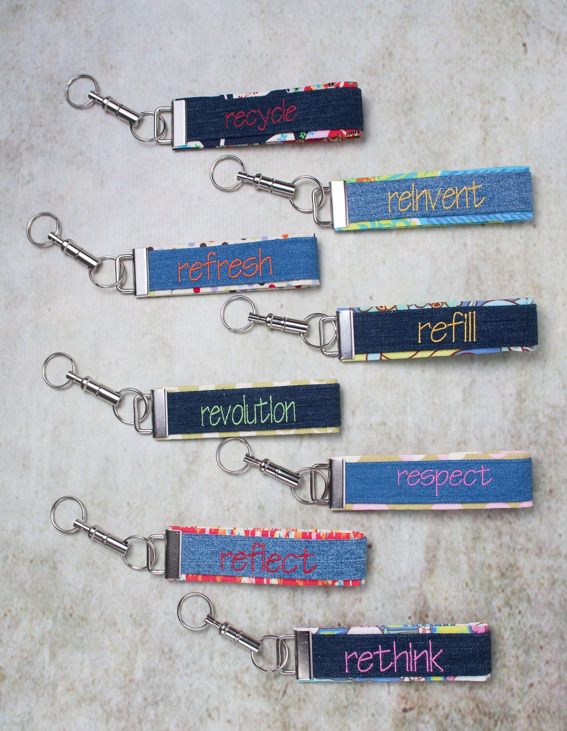 "Wrist Key Fobs ""RE"" Collection by It's A Wrap.  Made with repurposed denim.  And part of the proceeds go to the National Coalition for the Homeless.  $15.50"