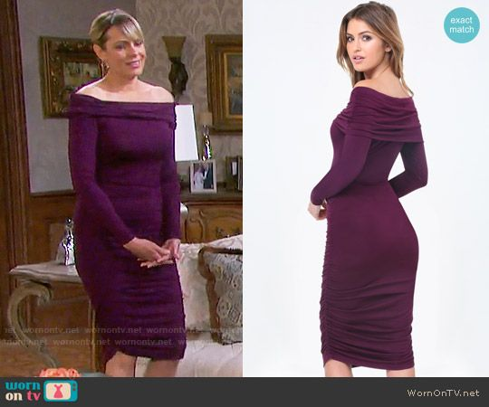 Nicole's purple off-shoulder dress on Days of our Lives.  Outfit Details: https://wornontv.net/74969/ #DaysofourLives