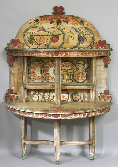 Peter Hunt Paint Decorated Demilune Two-Tier Server | Sale Number 2266, Lot Number 813 | Skinner Auctioneers