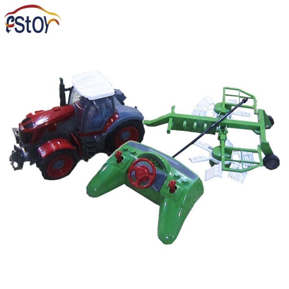 (39.99$)  Buy here - http://aigs1.worlditems.win/all/product.php?id=32498814917 - RC Car 4 Channel 4 Wheel Remote Control Farm Tractor Paratactic Double 5 Blade Rake With Plough
