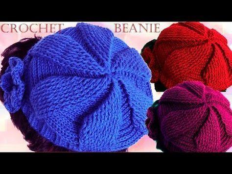 Como tejer a crochet o ganchillo gorro boina en punto de hojas y flores en  alto relieve - YouTube 9ae0d18cd0d