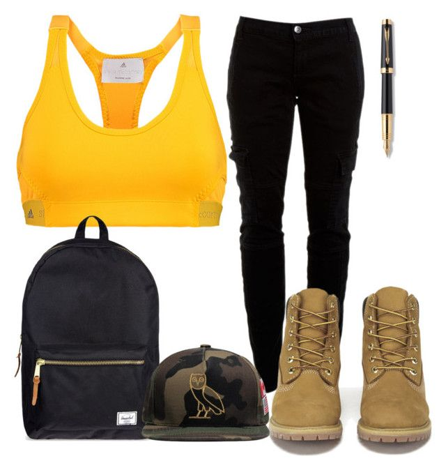 """""""Untitled #961"""" by kgoldchains ❤ liked on Polyvore featuring adidas, Herschel Supply Co., Parker, Joie, Timberland, October's Very Own, nice, beautiful, weekend and baddie"""