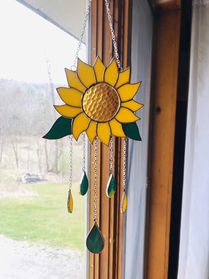 Sunflower Stained Glass Wind Chime Sun Catcher Windchime Suncatcher By Laheir Stained Glass Flowers Stained Glass Patterns Free Stained Glass Birds