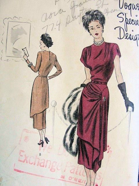 1940s DRAMATIC DINNER COCKTAIL DRESS PATTERN CASCADING DRAPED OVERSKIRT VOGUE SPECIAL DESIGN 4810