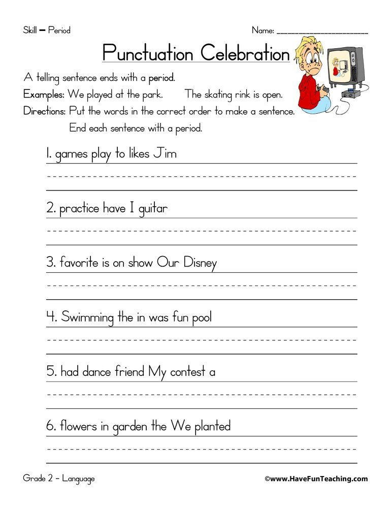 Period Worksheet Punctuation Worksheets Have Fun Teaching Sentence Activities Punctuation worksheets grade 4