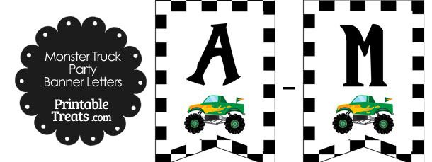 Green Monster Truck Birthday Bunting Banner Letters AM  Great