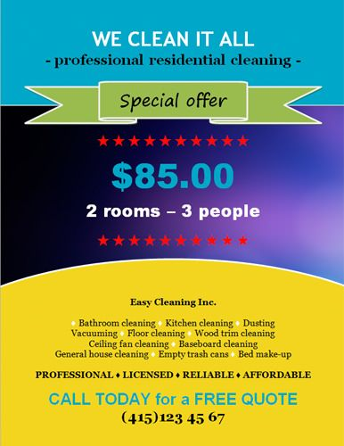 House Cleaning Flyer Template with Special Discount Offer ...