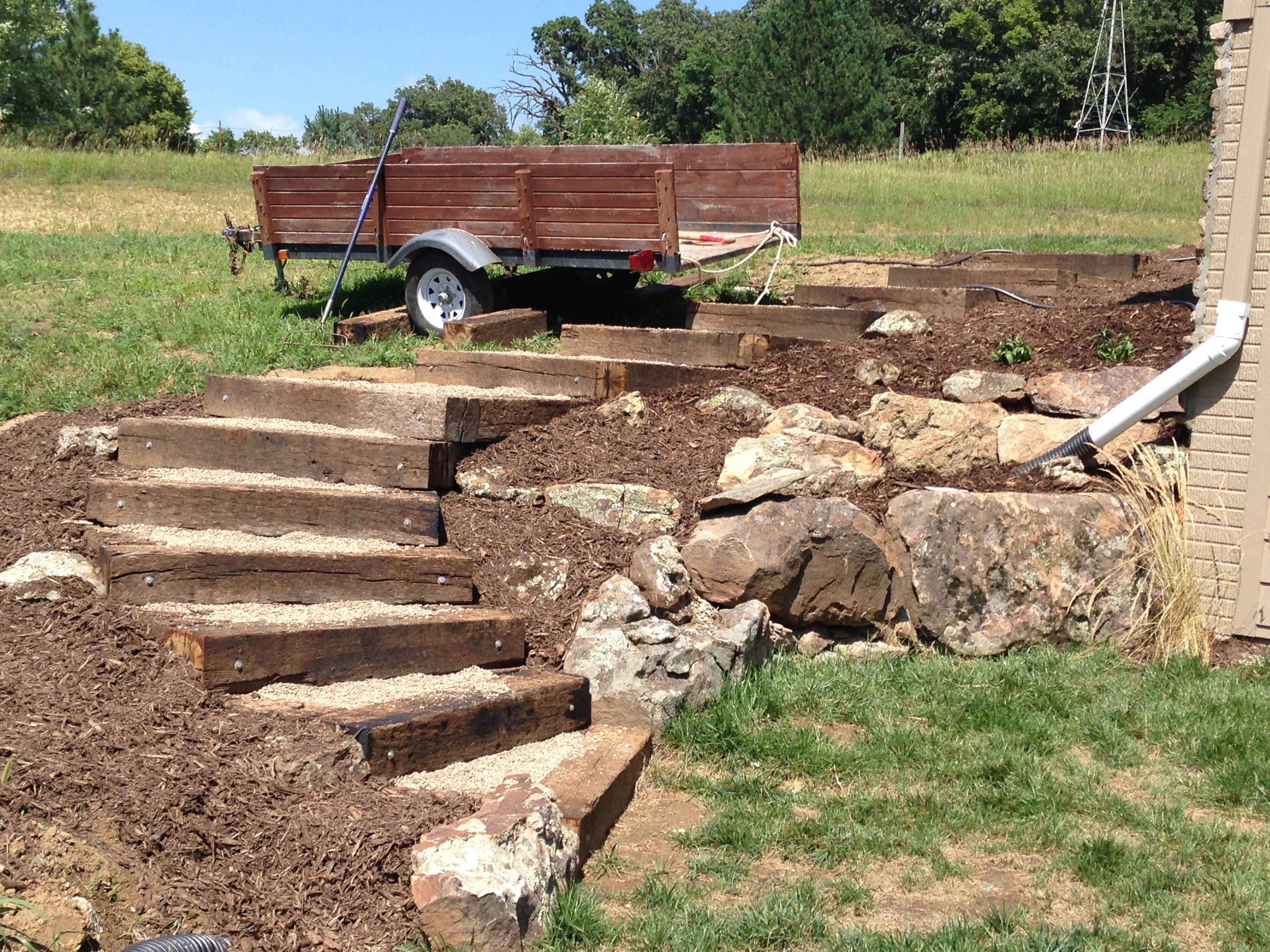 Best Railroad Tie Timber Steps Filled With Pea Gravel Outdoor 400 x 300