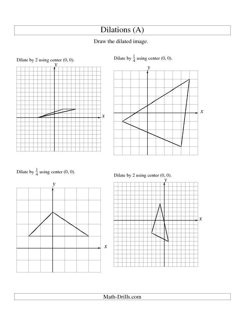 Dilations Worksheet 8th Grade Dilations Using Center 0 0 A Math Worksheet Freemath In 2020 Geometry Worksheets Practices Worksheets Printable Math Worksheets