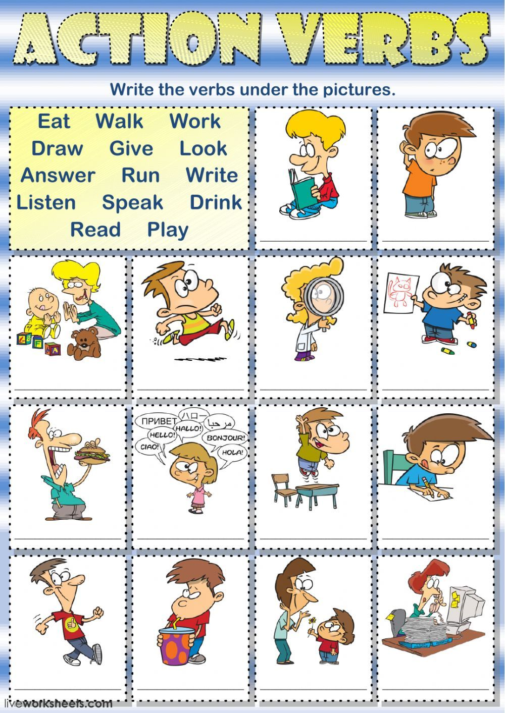 Action Verbs Interactive And Downloadable Worksheet You Can Do The Exercises Online Or Download Th Action Verbs English Activities For Kids Classroom Language [ 1413 x 1000 Pixel ]