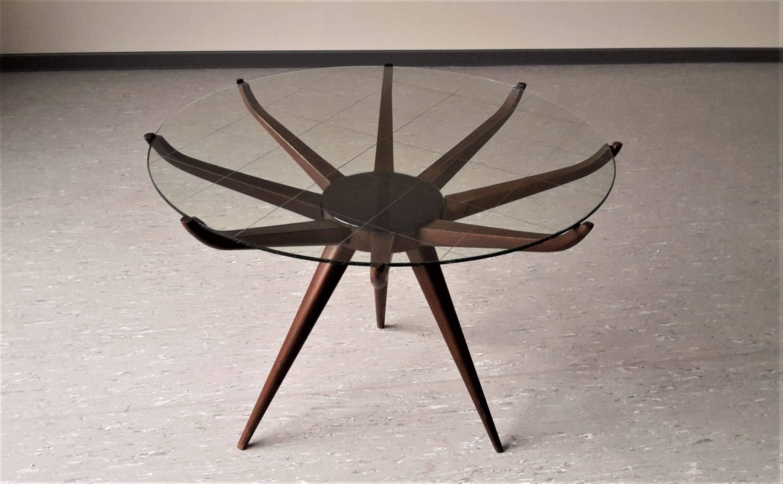 table basse italienne spiderleg en bois laqu et verre carlo de carli - Table Design Italienne