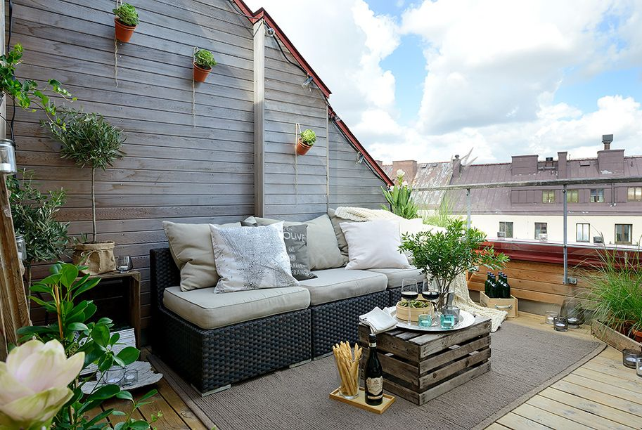 Outdoor Terrace Design cozy apartment decorated in pure modern scandinavian style | attic
