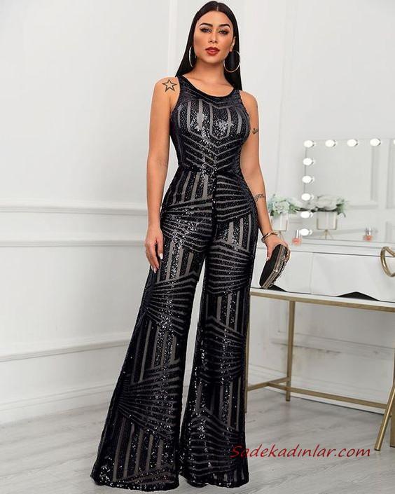 2020 Bayan Abiye Tulum Modelleri Siyah Kolsuz Kemerli Bol Kesim Payetli 2020 Kiyafet Tulumlar Moda Stilleri