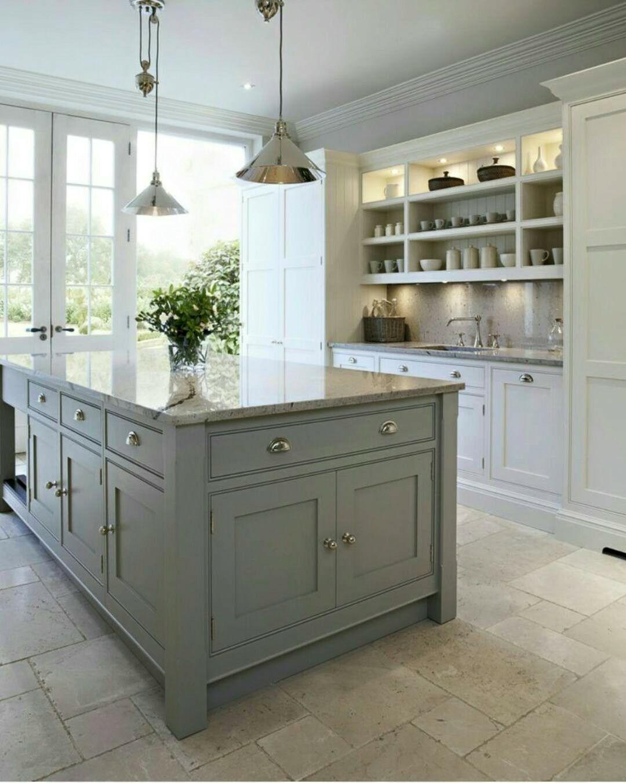 White Marble Kitchen With Grey Island With Images Kitchen Design White Marble Kitchen Traditional Kitchen Design