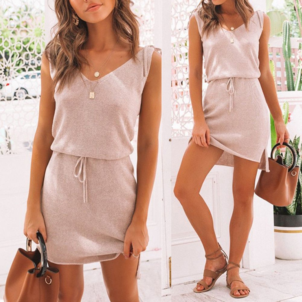 Women Fashion Sling Boho Lace Sleeveless Dress Summer Casual Beachwear Dress Sundress