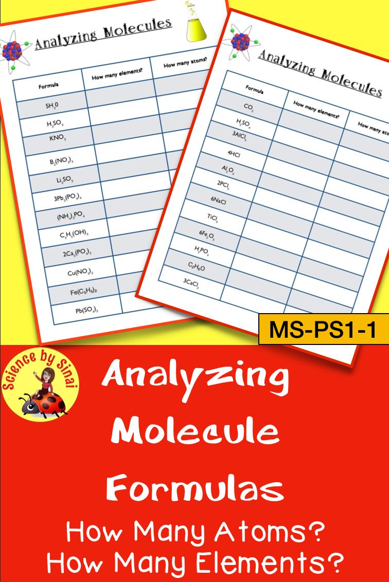 Analyzing Molecules Compounds Count How Many Atoms Elements 2 Worksheets Science Teaching Resources Middle School Science Resources Middle School Science Experiments