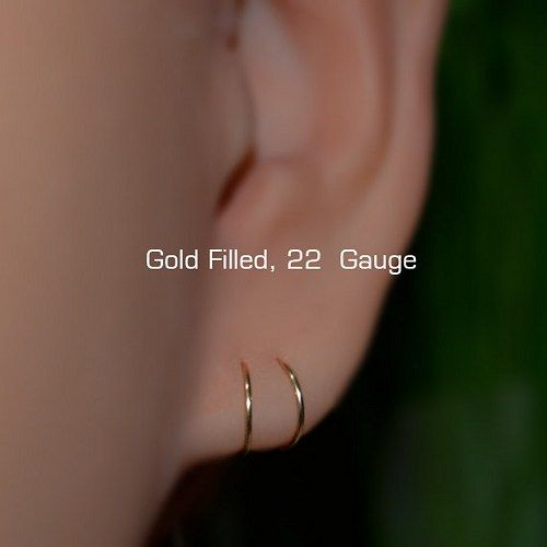 2 Small 7mm 14k Gold Hoop Earrings 22 Gauge Cartilage